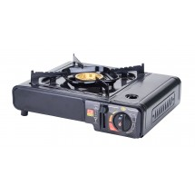 Winco PGS-1K Black Portable Gas Cooker with Brass Burner, Carrying Case - 9500 BTU