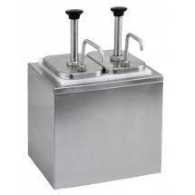 Winco PKTS-2D Stainless Steel Condiment Dispenser with 2 Standard Pumps