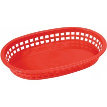"Winco PLB-R Red Oval Plastic Platter Basket 10-3/4"" x 7-1/4"""