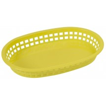 "Winco PLB-Y Yellow Oval Plastic Platter Basket 10-3/4"" x 7-1/4"""