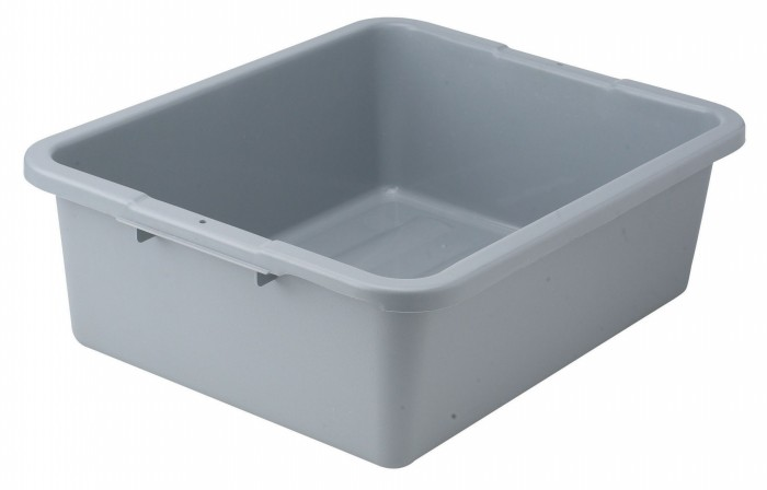 "Winco PLW-7G Gray Polypropylene Dish Box 21"" x 17"" x 7"""