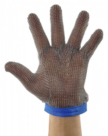 Winco PMG-1L Stainless Steel Large Reversible Blue Protective Mesh Glove