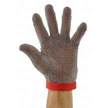 Winco PMG-1M Stainless Steel Medium Reversible Red Protective Mesh Glove