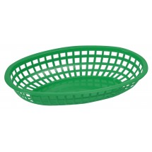 "Winco POB-G Green Oval Plastic Food Basket 10-1/4"" x 6-3/4"""