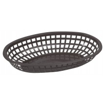 "Winco POB-K Black Oval Plastic Food Basket 10-1/4"" x 6-3/4"""