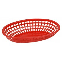 "Winco POB-R Red Oval Plastic Food Basket 10-1/4"" x 6-3/4"""