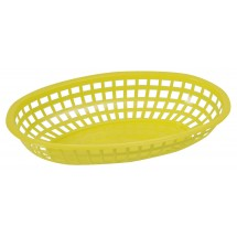 "Winco POB-Y Yellow Oval Plastic Food Basket 10-1/4"" x 6-3/4"""