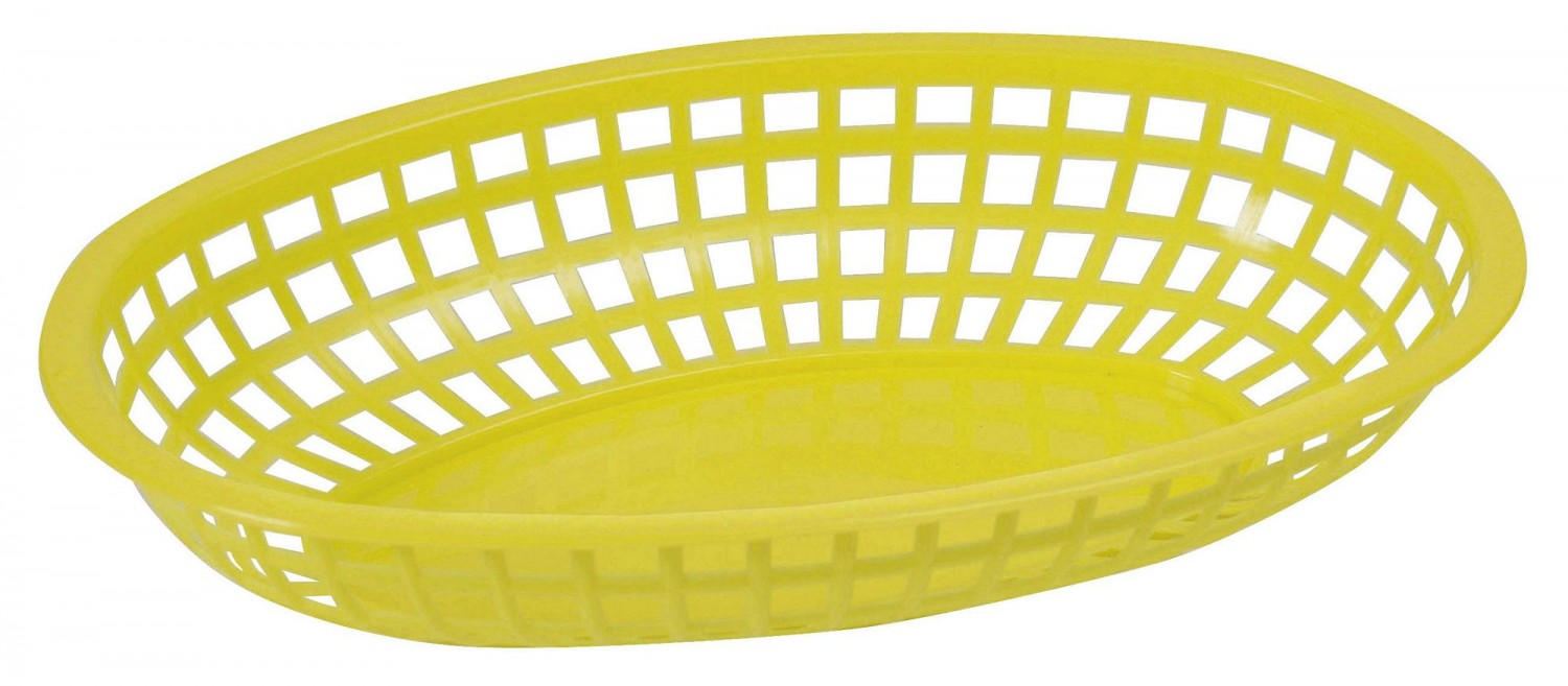 "Winco POB-Y Large Oval Food Basket, Yellow 10-1/4"" x 6-3/4"" x 2"""