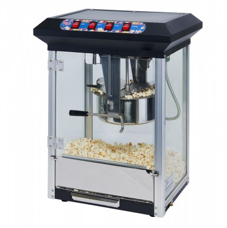 Winco POP-8B Show Time Black Electric Countertop Popcorn Machine 120V, 1130W