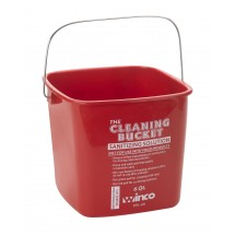 Winco PPL-6R Red Sanitizing Solution Cleaning Bucket 6 Qt.
