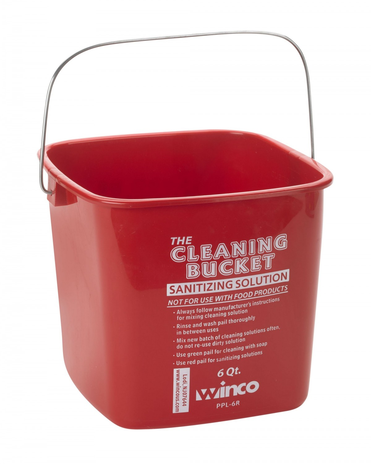 Winco PPL-6R Red Cleaning Bucket 6 Qt.