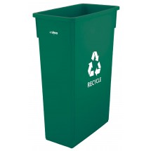 Winco PTC-23GR Green Plastic Slender RECYCLE Trash Can 23 Gallon