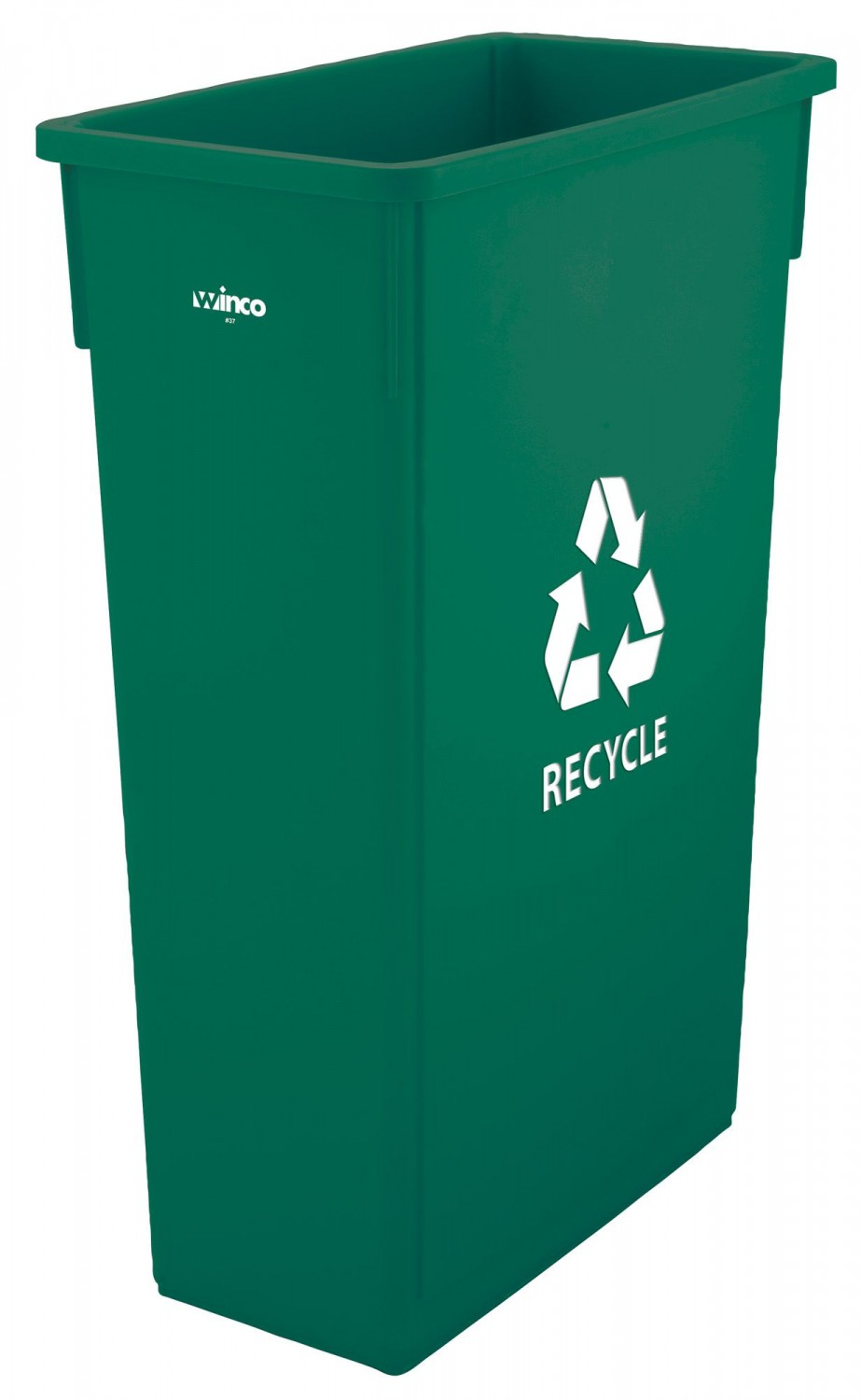 Winco PTC-23GR Slender RECYCLE Trash Can, Green 23 Gallon
