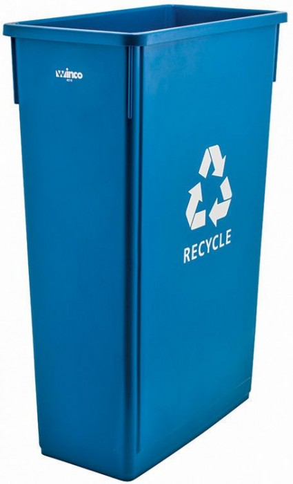 Winco PTC-23L Blue Plastic Slender Recycle Trash Can 23 Gallon