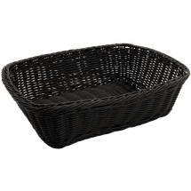 "Winco PWBK-118T Black Polypropylene Woven Rectangular Bread Basket-11-1/2"" - 1 doz"