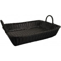 "Winco PWBK-1914T Black Polypropylene Woven Rectangular Bread Basket with Handles 19"" - 3 pcs"