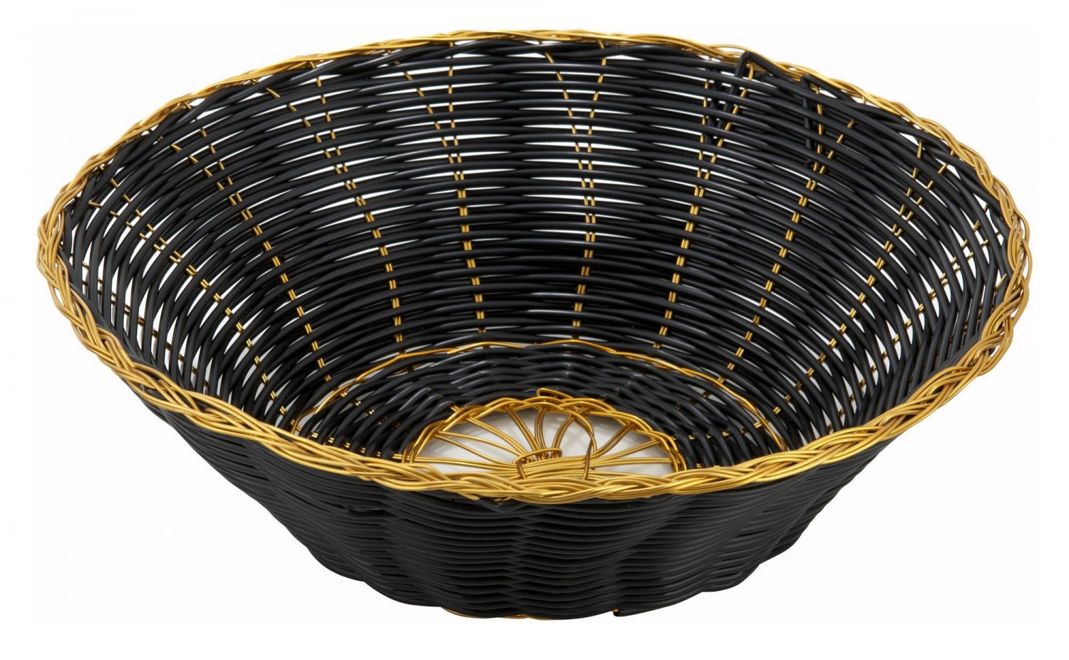 Winco PWBK-8R Round Woven Basket, Black with Gold Trim - 1 doz