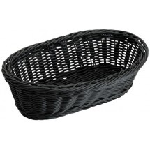 "Winco PWBK-94B Black Poly Woven Oblong Basket 9"" x 4-1/2"" x 3"" - 1/2 doz"
