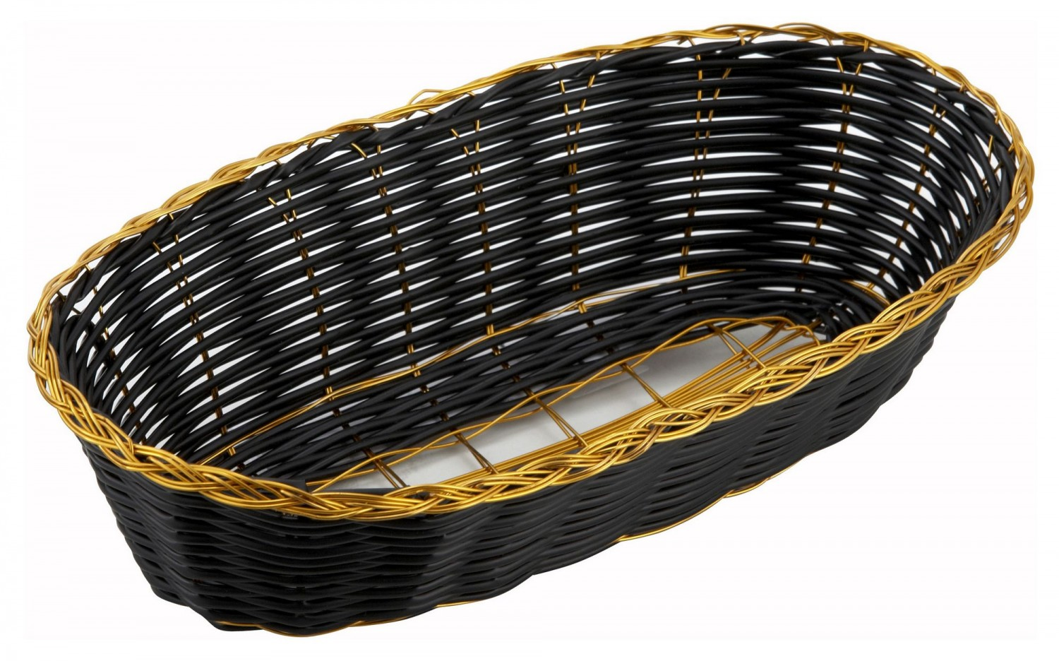 Winco PWBK-9B Oblong Woven Basket, Black with Gold Trim - 1 doz