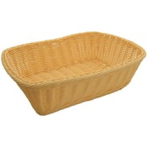 "Winco PWBN-118T Natural Polypropylene Woven Rectangular Bread Basket 11-1/2"" - 1 doz"
