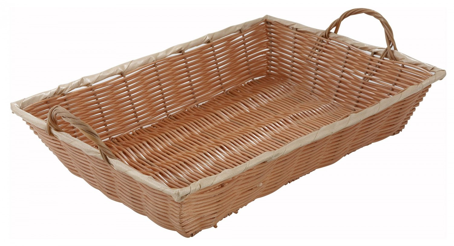 "Winco PWBN-16B Oblong Woven Basket With Handles 16"" x 11"""