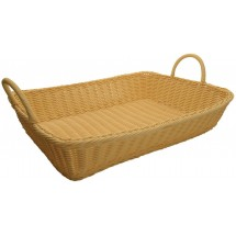 "Winco PWBN-1914T Natural Polypropylene Woven Rectangular Bread Basket with Handles 19"" x 14"" x 4"" - 3 pcs"