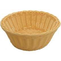 "Winco PWBN-88R Natural Polypropylene Woven Round Bread Basket 8-1/4"" - 1 doz"