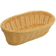 "Winco PWBN-94B Natural Polypropylene Woven Oblong Bread Basket 9"" - 1/2 doz"