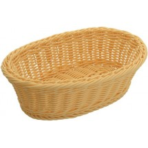 "Winco PWBN-96V Natural Polypropylene Woven Oval Bread Basket 9-1/4"" - 1/2 doz"