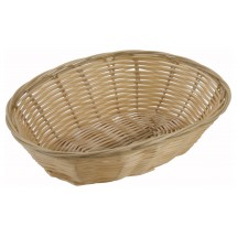 Winco PWBN-9V Natural Oval Woven Baskets - 1 doz