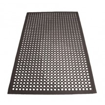 Winco RBM-35K Black Anti-Fatigue Floor Mat with Beveled Edge 3 ft. x 5 ft. x 1/2""
