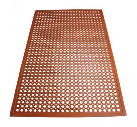 Winco RBM-35R Red Anti-Fatigue Floor Mat with Beveled Edge 3 ft. x 5 ft. x 1/2""