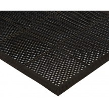 Winco RBMM-35K Black Rubber Floor Mat with Beveled Edges 3' x 5' x 3/8'