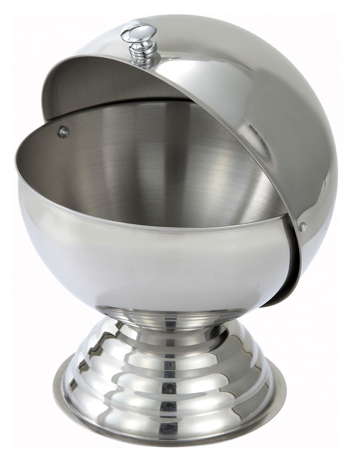 Winco SBR-30 Stainless Steel Sugar Bowl with Roll Top Lid 20 oz .