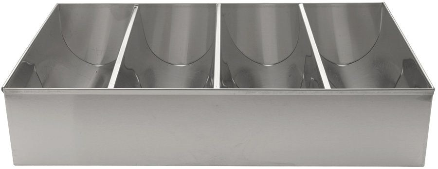 Winco SCB-4 4-Compartment Stainless Steel Cutlery Bin