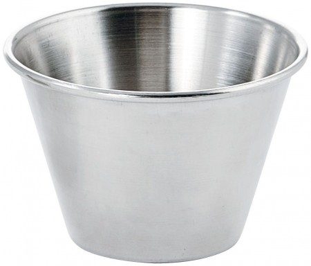 Winco SCP-40 Round Stainless Steel Sauce Cups 4 oz. - 1 doz