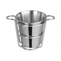 "Winco SFCW-4S Stainless Steel Fry Cup with Wire Holder, 4"" Dia."