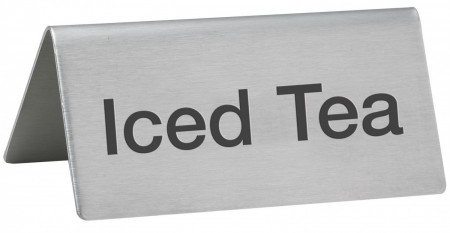 """Winco SGN-105 Stainless Steel """"Iced Tea"""" Tent Sign"""