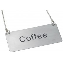 "Winco SGN-203 Stainless Steel ""Coffee"" Chain Sign"
