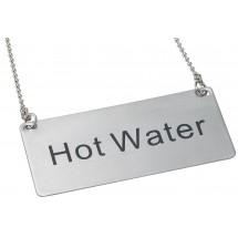 "Winco SGN-204 Stainless Steel ""Hot Water"" Chain Sign"
