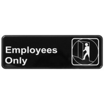 "Winco SGN-305 EMPLOYEES ONLY Information Sign 3"" x 9"""