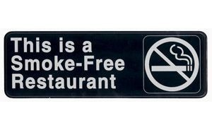 """Winco SGN-316 """"Smoke Free Restaurant"""" Information Sign 3"""" x 9"""""""