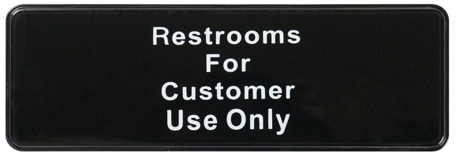 "Winco SGN-317 RESTROOM Information Sign 3"" x 9"""