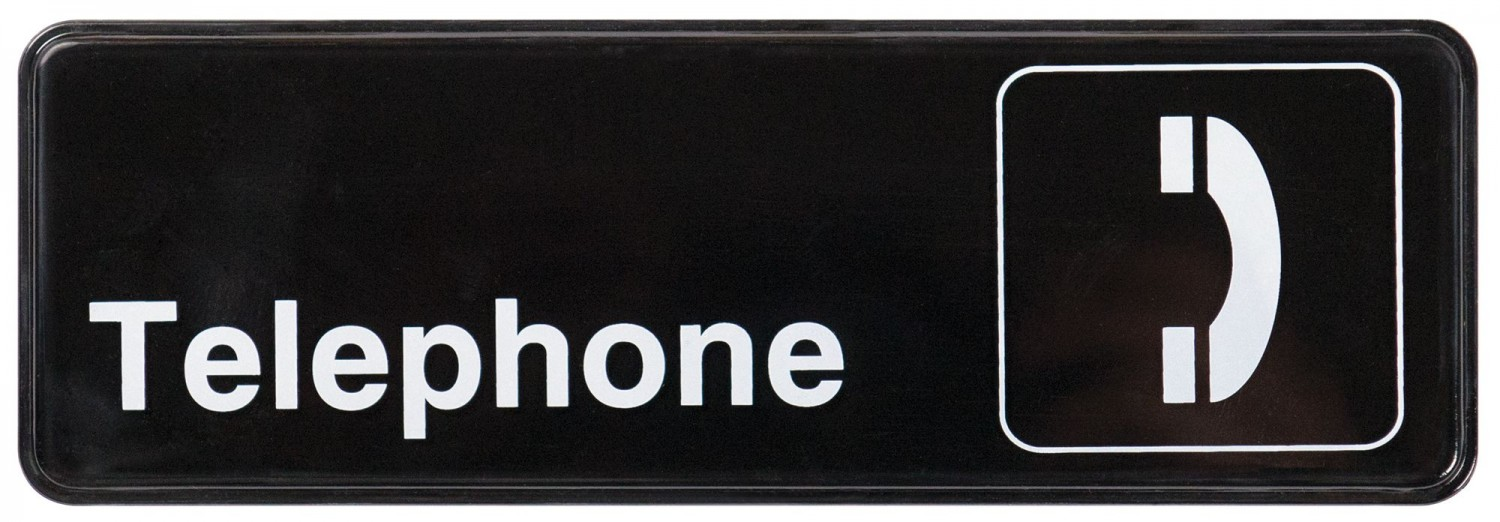 "Winco SGN-325 Black TELEPHONE Information Sign with Symbol 3"" x 9"""