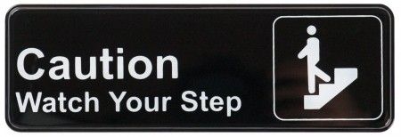 "Winco SGN-326 ""Caution Watch Your Step"" Information Sign 3"" x 9"""