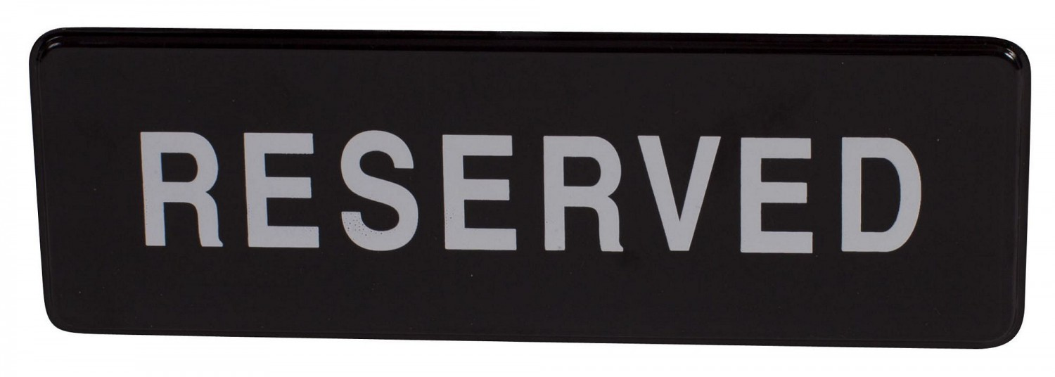 "Winco SGN-328 Black RESERVED Information Sign with Symbol 3"" x 9"""