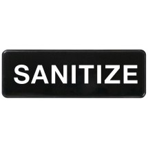 "Winco SGN-329 Black ""Sanitize"" Information Sign, 3"" x 9"""