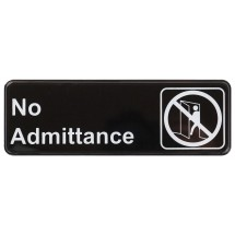 "Winco SGN-331 ""No Admittance"" Information Sign 3"" x 9"""