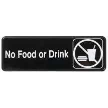 "Winco SGN-333 ""No Food and Drink"" Information Sign 3"" x 9"""