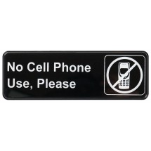 """Winco SGN-334 """"No Cell Phone Use, Please"""" Information Sign 3"""" x 9"""""""